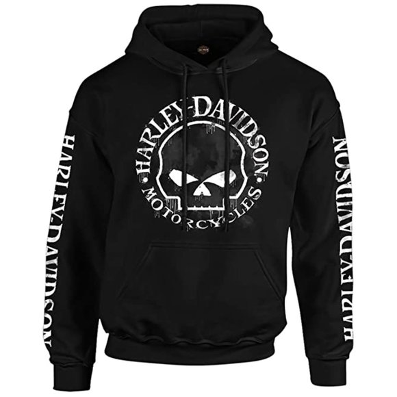 Harley-Davidson Other - Harley-Davidson Military - Men's Black Skull Graphic Pullover Hoodie - Overseas